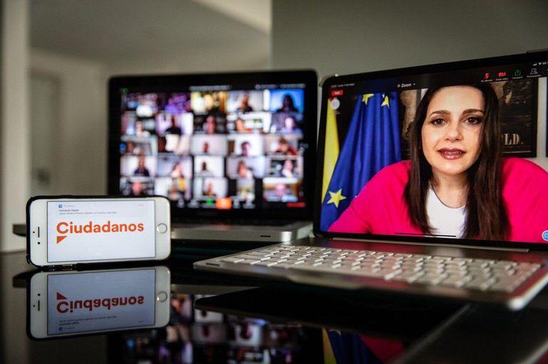 La presidenta de Ciudadanos, Inés Arrimadas, durante una reunión telemática de la ejecutiva nacional del partido.