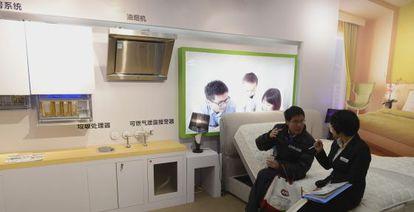 Imagen de un hogar totalmente automatizado en la Feria Mundial del Electrodoméstico, celebrada en Shanghái.