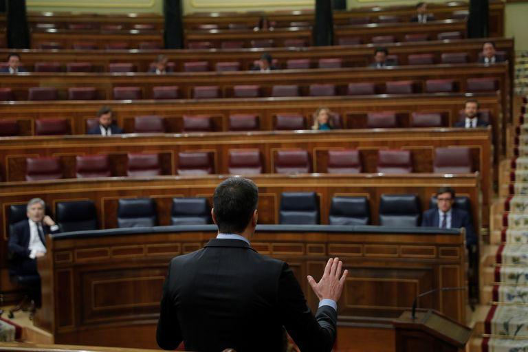 Pedro Sánchez durante una sesión de control en el Congreso.