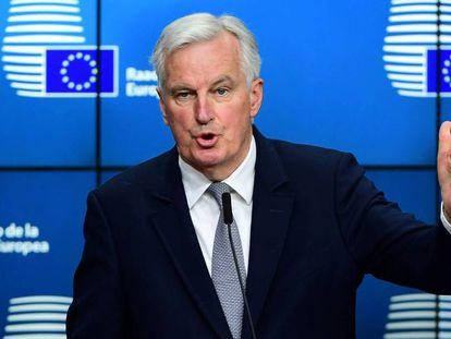 Michel Barnier durante una rueda de prensa.