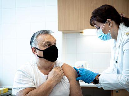 El primer ministro húngaro Viktor Orban se vacunó el domingo 28 de febrero con una de los cinco millones de dosis que Hungría ha comprado de la vacuna china de Sinopharm.