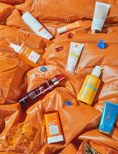 1. Body SPF 50 de Muti. 42 euros en nadiaperfumeria.com. Reduce su lista de ingredientes hasta los que considera imprescindibles: pantalla, vitamina E y alantoína. 2. C+C Oil-Free Macroantioxidant Sun Protection SPF 30, de Natura Bissé. 49 euros. Contiene unos potentes antioxidantes que se extraen directamente de la piel de la fruta. 3. Silky Bronze Cream for Body SPF 30, de Sensai. 102 euros. Resistente al agua y a la fricción. 4. Idéal Soleil SPF 30 Agua de Protección Solar, de Vichy. 17,50 euros. Enriquecida con ácido hialurónico de origen natural. 5. Gel-crema correctora Anthelios Anti-imperfecciones 50+, de La Roche-Posay. 20,75 euros. Trata de prevenir las marcas del acné causadas por la exposición al sol y el temido efecto rebote. 6. Huile Sirène, de Kérastase. 27,60 euros. Spray bifásico para hidratar y texturizar el pelo. 7. Waterlover Melting Sun Milk, de Biotherm. 24,50 euros. 8. Stick Solaire Invisible 50, de Clarins. 26euros. Barra de gel solidificado que se funde al contacto con la piel. 9. Expert Sun Protector Face Cream 30, de Shiseido. 44 euros. Incorpora una tecnología patentada que aumenta la eficacia de la protección al contacto con el agua, la transpiración o el calor.