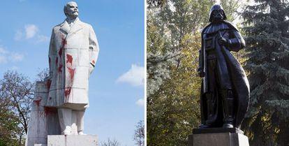 Esta era la estatua de Lenin que ha sido convertida en Darth Vader.
