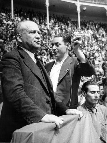 Francisco Largo Caballero, durante un mitin en la plaza de Las Ventas el 5 de abril de 1936.