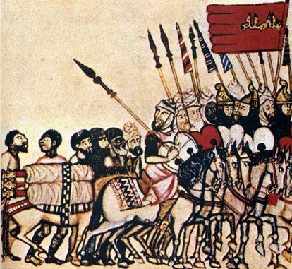 Tropas andalusíes, en una ilustración de 'Las Cantigas de Santa María' de Alfonso X el Sabio.