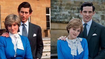 A la izquierda, el príncipe Carlos y Diana Spencer. A la derecha, los actores que los interpretan en la serie 'The Crown'.