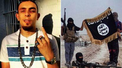 Izquierda, Abdel Bari.  A la derecha, una foto del grupo ISIS al que pertenece, según los investigadores.