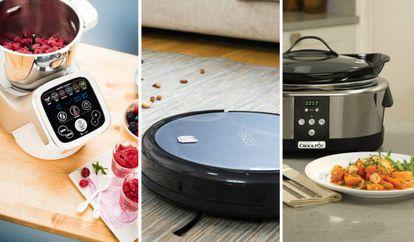 De izquierda a derecha: robot de cocina de Moulinex, robot aspiradora Conga y olla de cocción digital.