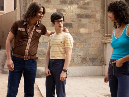 Chechu Salgado (Zarco), Marcos Ruiz (Nacho) y Begoña Vargas (Tere), el trío protagonista de 'Las leyes de la frontera'.
