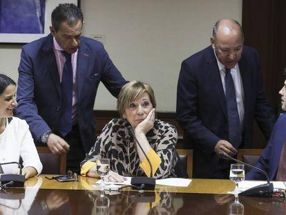 La presidenta de la Comisión de Seguimiento del Pacto de Toledo, Celia Villalobos (c), conversa con los integrantes de dicha comisión, José María Barrios (2d), Rafael Merino (2i), Carmen Rocío Cuello (i), el 19 de junio.