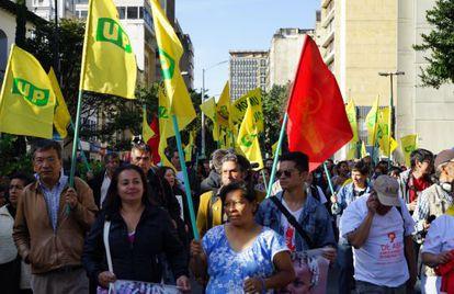 Marcha de la UP, en Bogotá.