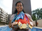 Swimmer Teresa Perales, who will join the protest on Sunday, with her Paralympic Games medal haul.