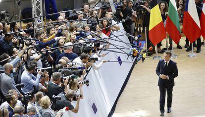 Emmanuel Macron, el jueves, en la cumbre de la UE en Bruselas.