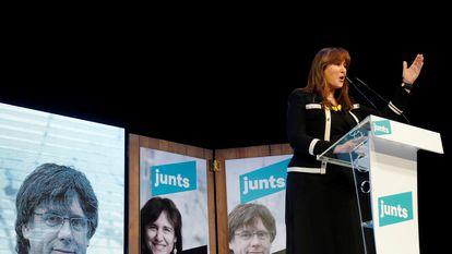 Laura Borràs, en el mitin de Junts en Igualada este sábado.