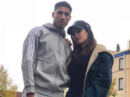 Hiba Abouk y Achraf Hamiki en una imagen de Instagram.