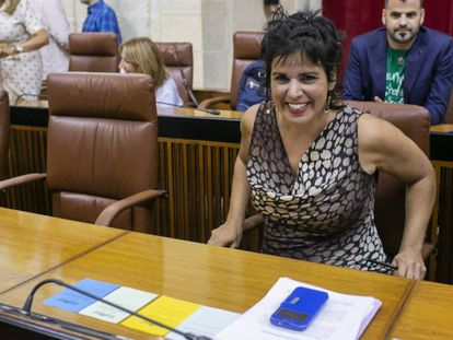 La líder de Adelante Andalucía, Teresa Rodríguez, en un pleno del Parlamento andaluz este septiembre.