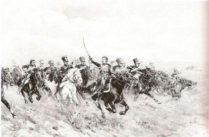 Dibujo de la batalla de Wagram en 1809, que representa la carga de Lasalle.