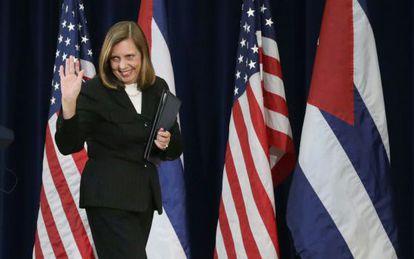 La jefa negociadora cubana, Josefina Vidal, tras las conversaciones