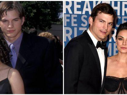 Mila Kunis y Ashton Kutcher, en la alfombra roja de los premios Emmy y, a la derecha, los actores en su primer posado oficial desde que son pareja hace cinco años.