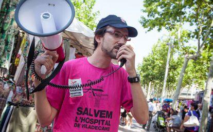 Protesta contra los recortes en el hospital de Viladecans el pasado verano.