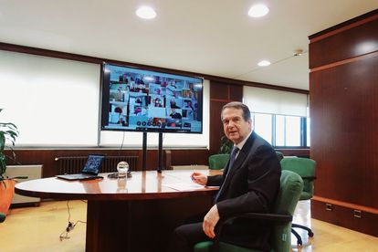 Abel Caballero, en una reunión telemática.