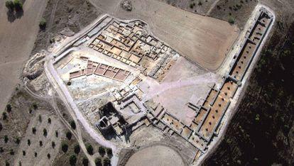Vista aérea de la zona excavada del yacimiento de Recópolis, un 8% del total.