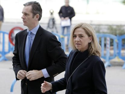 La infanta Cristina e Iñaki Urdangarin, a su llegada al juicio en febrero.