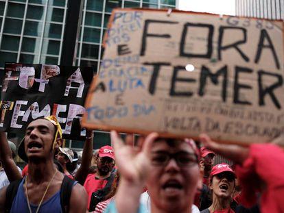 Una protesta contra el presidente de Brasil, Michel Temer, el miércoles en São Paulo