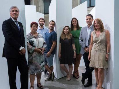 Integrantes del Grupo de Ciudades Patrimonio de la Humanidad y de Boa Mistura en la presentación de 'Laberintos líricos'.