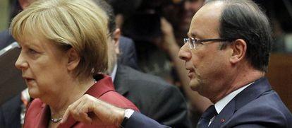 François Hollande y Angela Merkel hoy en Bruselas-