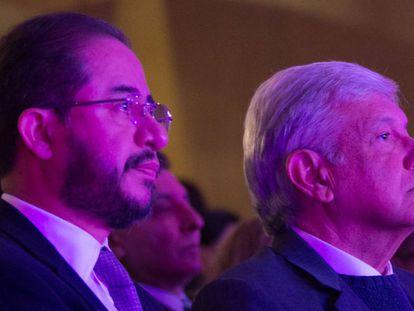 Hugo Eric Flores, dirigente del PES, y Andrés Manuel López Obrador.
