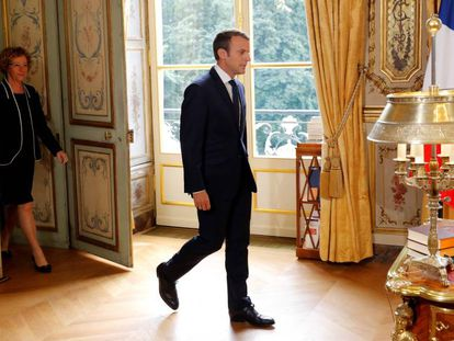 El presidente Emmanuel Macron en el Elíseo.
