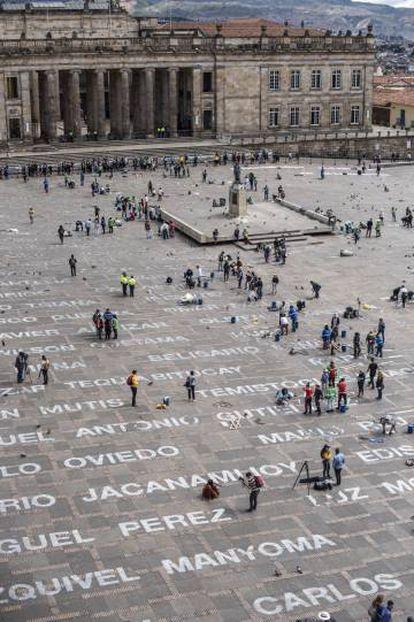 Vista panorámica de 'Quebrantos', en la Plaza de Bolívar.