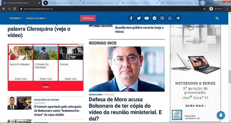An advertisement from Dell on the Jornal da Cidade Online page.