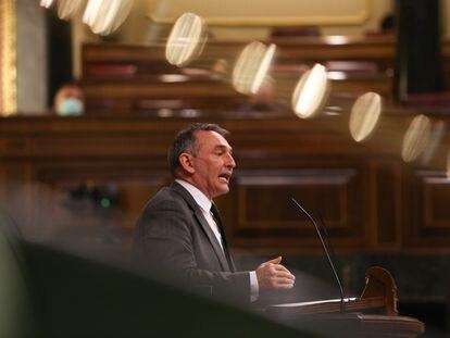 El diputado de Unidas Podemos y portavoz de IU en el Congreso, Enrique Santiago interviene durante una sesión plenaria en el Congreso de los Diputados el pasado 16 de febrero.