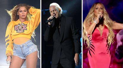 Beyoncé en Coachella en abril de 2018; Bertin Osborne en Barcelona en enero de 2017; y Mariah Carey en Los Ángeles en octubre de 2018
