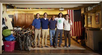 Los cinco emprendedores españoles, en su villa de San Francisco.