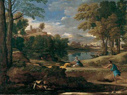 <i>Paisaje con un hombre muerto por una serpiente, </i>de Poussin, propiedad de la National Gallery de Londres y expuesto en Nueva York.