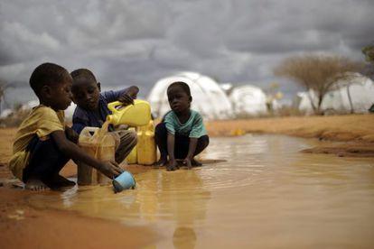Niños somalíes llenan garrafas con el agua de una charca en el campamento de refugiados de Dadaab, en Kenia.