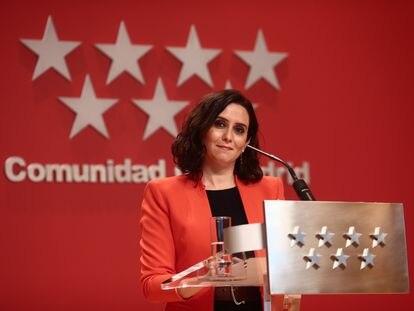 La presidenta de la Comunidad de Madrid, Isabel Díaz Ayuso, en una rueda de prensa en la Real Casa de Correos, en Madrid el pasado 15 de marzo.