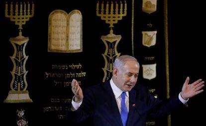 El primer ministro israelí, el viernes en una sinagoga de Río de Janeiro.
