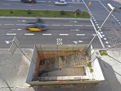 La futura estacin de metro Fuego Cincel, al paseo de la Zona franca.