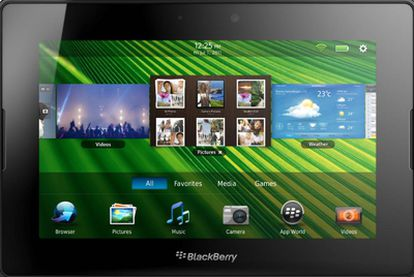 Vista frontal de la PlayBook, la propuesta de RIM.