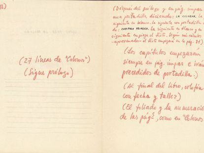 Anotaciones de Cela en un manuscrito inédito de 'La Colmena'