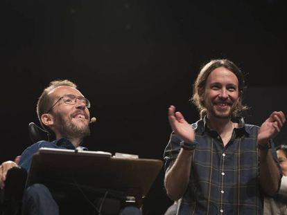 Pablo Echenique junto a Pablo Iglesias en un mitin celebrado en Zaragoza en mayo de 2015.