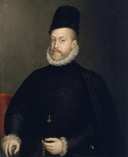 Felipe II. 1565. Anguissola retocaría este retrato en 1573 para hacerlo emparejar con el de su cuarta esposa, Ana de Austria.