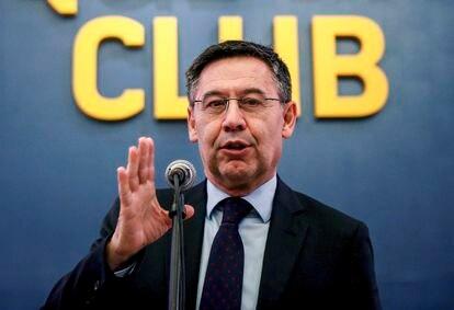 Bartomeu, en febrero en un acto oficial del club.