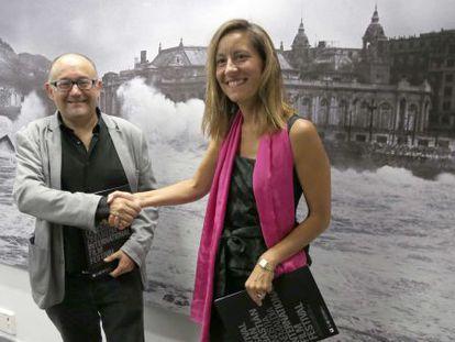 Rebordinos, junto a Monguilot, durante la presentación del apartado Nuevos Directores del Festival Internacional de Cine de San Sebastián.
