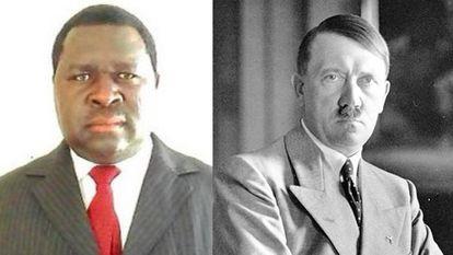 Adolf Hitler Uunona, político californiano, junto a una imagen del dictador nazi homónimo.