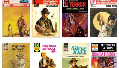 Algunos de los títulos de los bolsilibros que editó Bruguera.